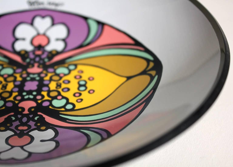 1960s Peter Max Psychedelic Pop Art Glass Bowl For Sale 1