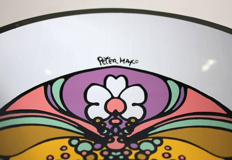 1960s Peter Max Psychedelic Pop Art Glass Bowl For Sale 4