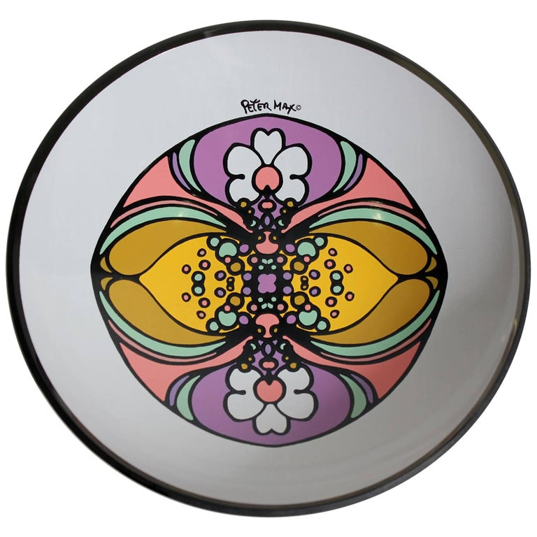 1960s Peter Max Psychedelic Pop Art Glass Bowl For Sale