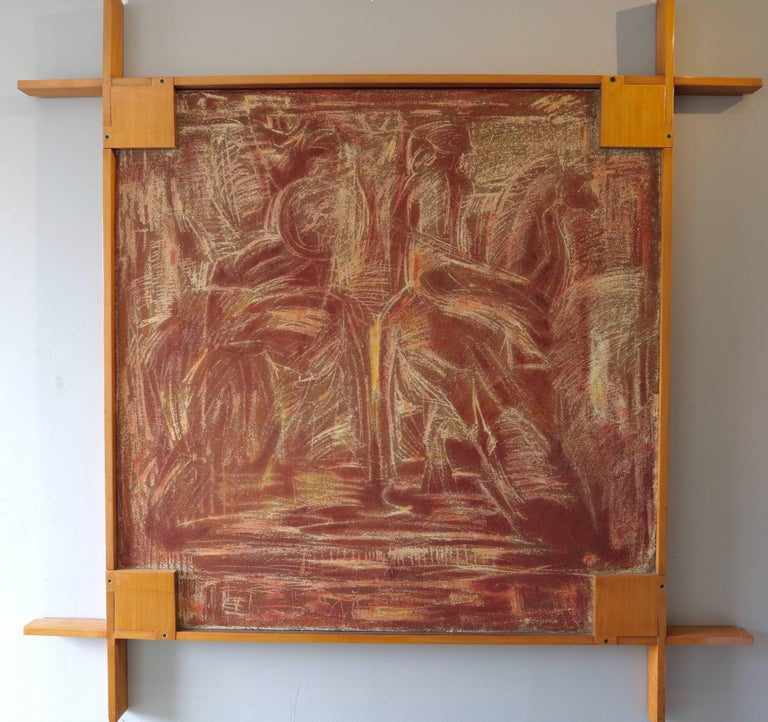 1960s picture frame by Ico Parisi, painting by an unknown artist.