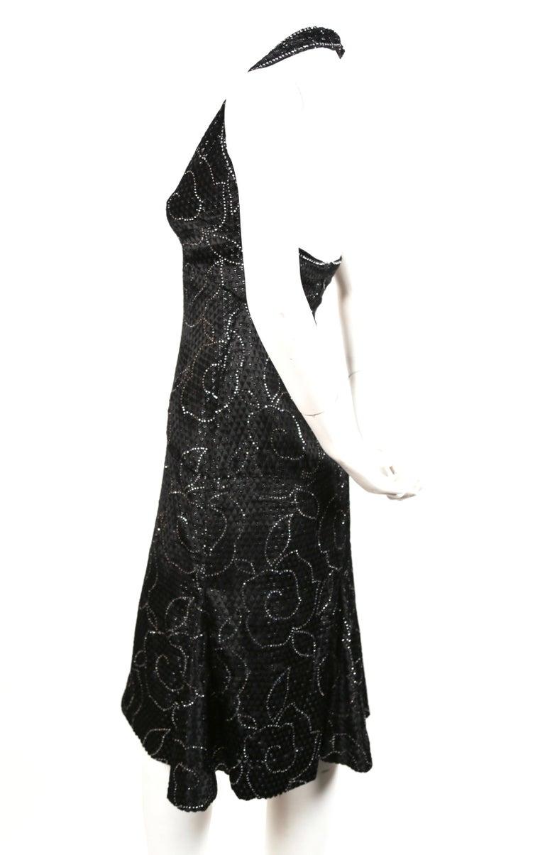 Black 1960's PIERRE BALMAIN black velvet haute couture dress with rhinestones For Sale