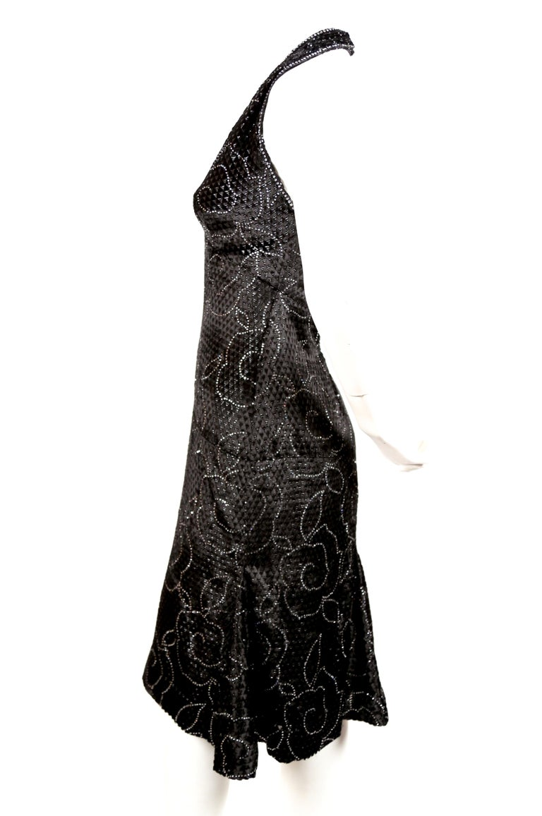 1960's PIERRE BALMAIN black velvet haute couture dress with rhinestones In Excellent Condition For Sale In San Fransisco, CA