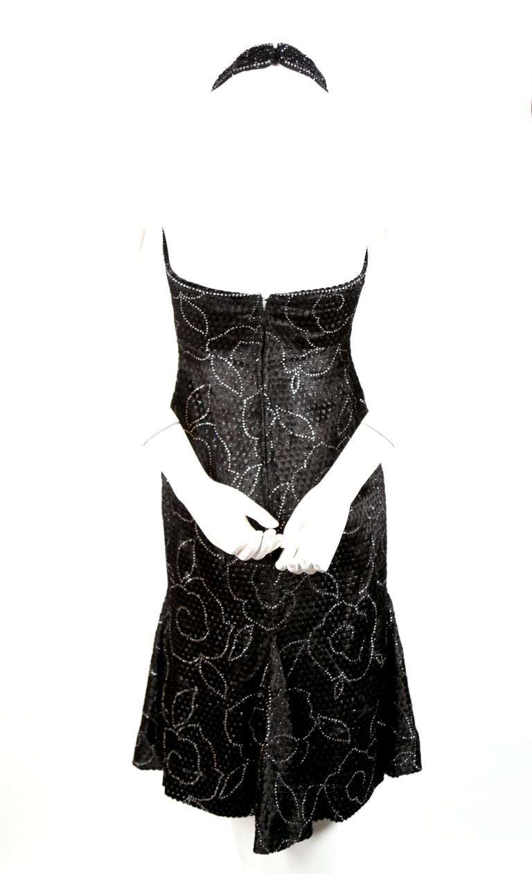 Women's 1960's PIERRE BALMAIN black velvet haute couture dress with rhinestones For Sale