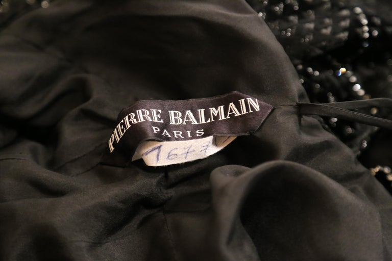 1960's PIERRE BALMAIN black velvet haute couture dress with rhinestones For Sale 1