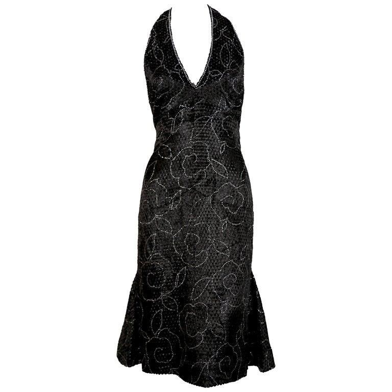 1960's PIERRE BALMAIN black velvet haute couture dress with rhinestones For Sale