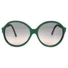 1960s PIERRE CARDIN British Racing Green Oversized Round Sunglasses Grey Lenses