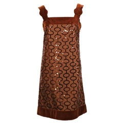 1960's PIERRE CARDIN brown sequined demi-couture dress