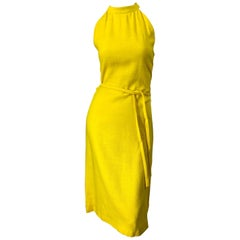 1960s Pierre Cardin Canary Yellow Linen Belted Vintage 60s Sleeveless Dress
