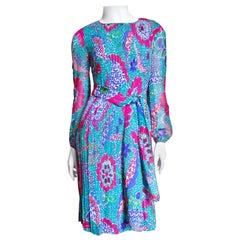 1960s Pierre Cardin Colorful Silk Dress