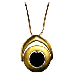 1960's Pierre Cardin Gold Plated w/  Enameled Black Metal Center Necklace