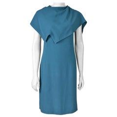 1960s Pierre Cardin Haute Couture Assymetrical Blue Space Age Dress