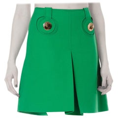 1960S  PIERRE CARDIN Kelly Green Wool Iconic Mod Mini Skirt With Chrome Buttons