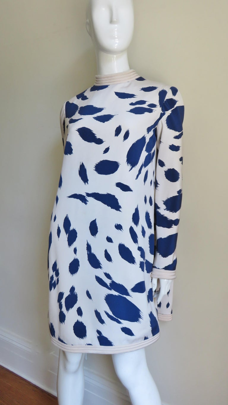 1960s Pierre Cardin Silk Dress with Cape For Sale 5