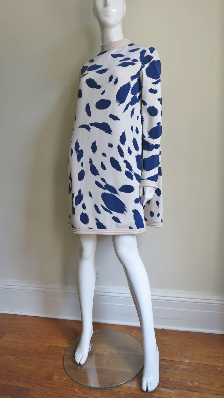 1960s Pierre Cardin Silk Dress with Cape For Sale 6