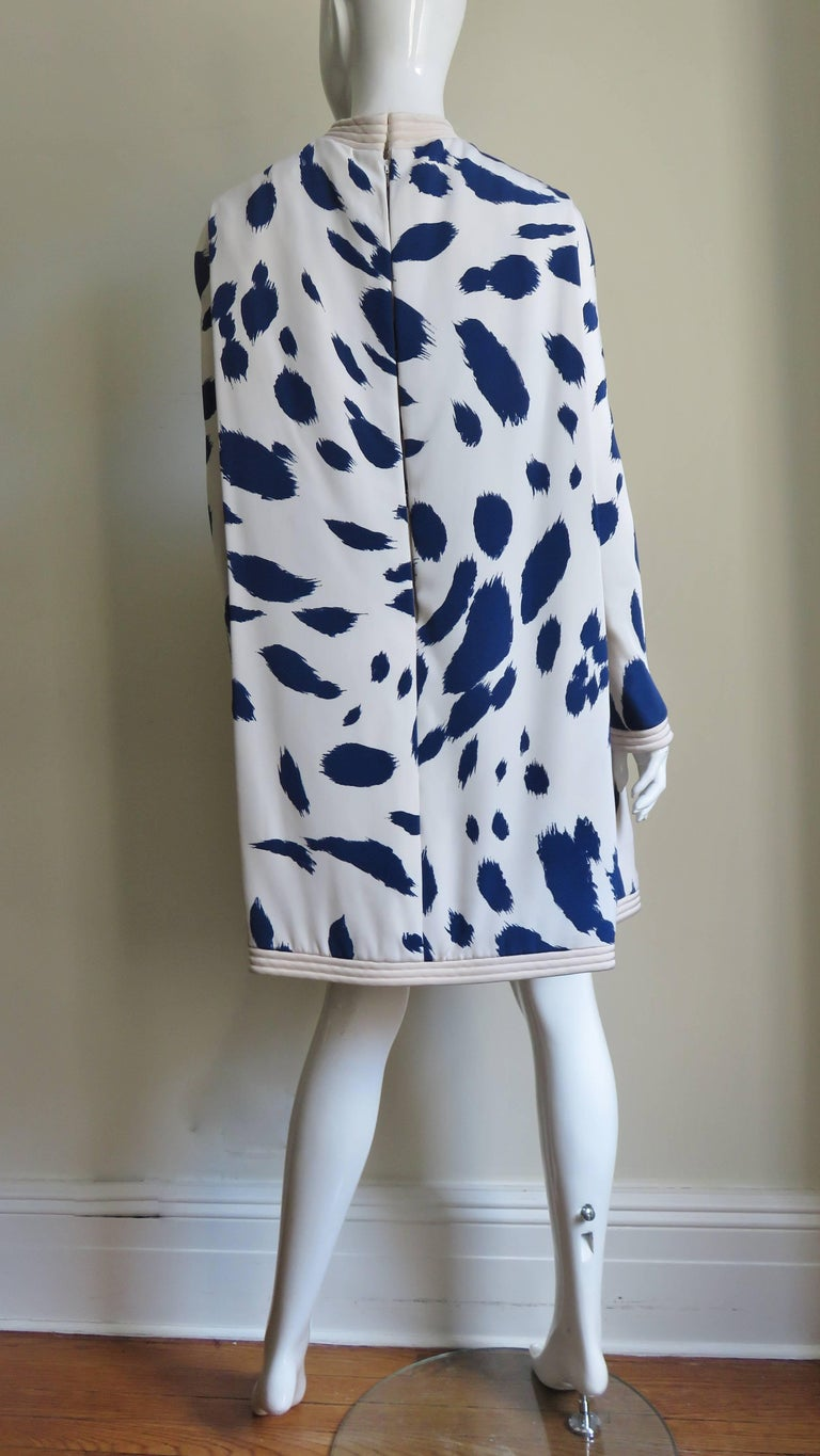 1960s Pierre Cardin Silk Dress with Cape For Sale 10