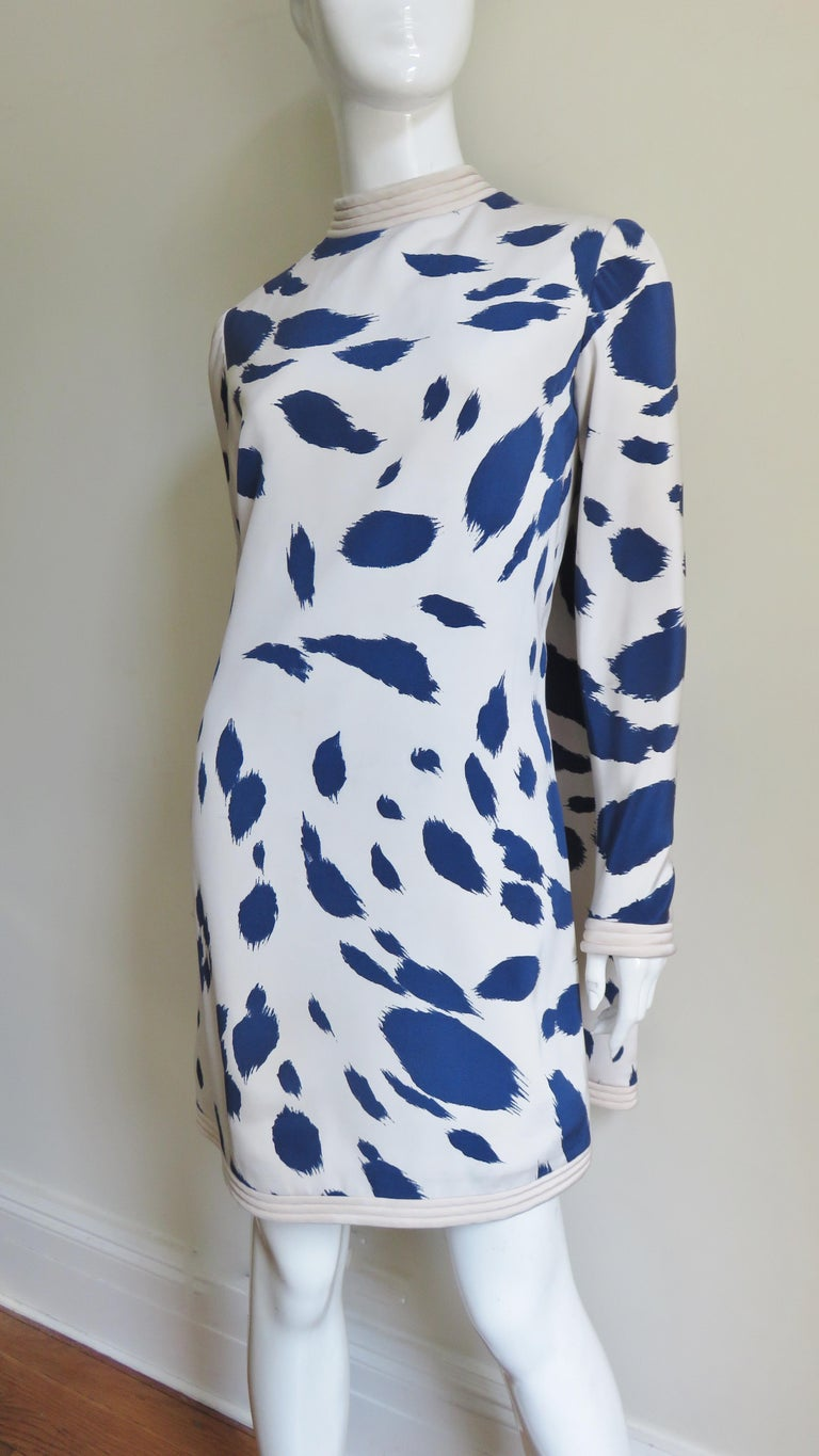 1960s Pierre Cardin Silk Dress with Cape For Sale 4