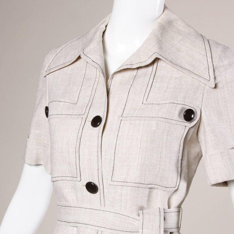 Beige 1960s Pierre Cardin Vintage Mod Linen Dress and Sash Belt For Sale