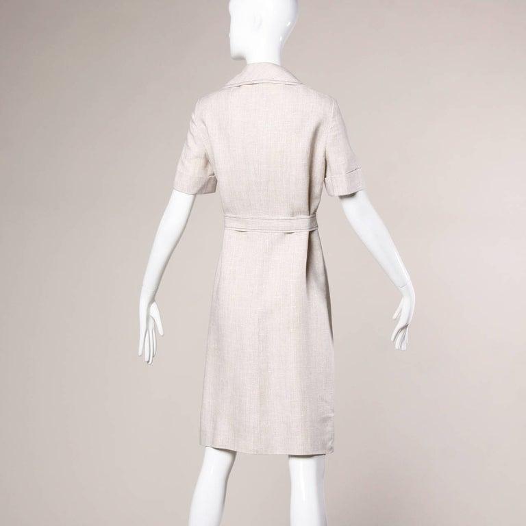 Women's 1960s Pierre Cardin Vintage Mod Linen Dress and Sash Belt For Sale