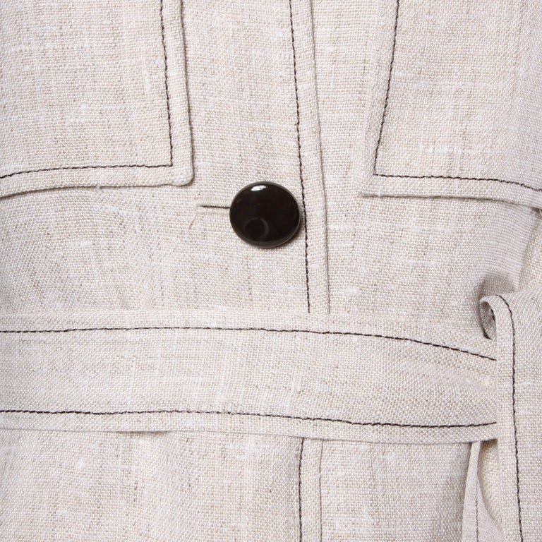 1960s Pierre Cardin Vintage Mod Linen Dress and Sash Belt For Sale 1
