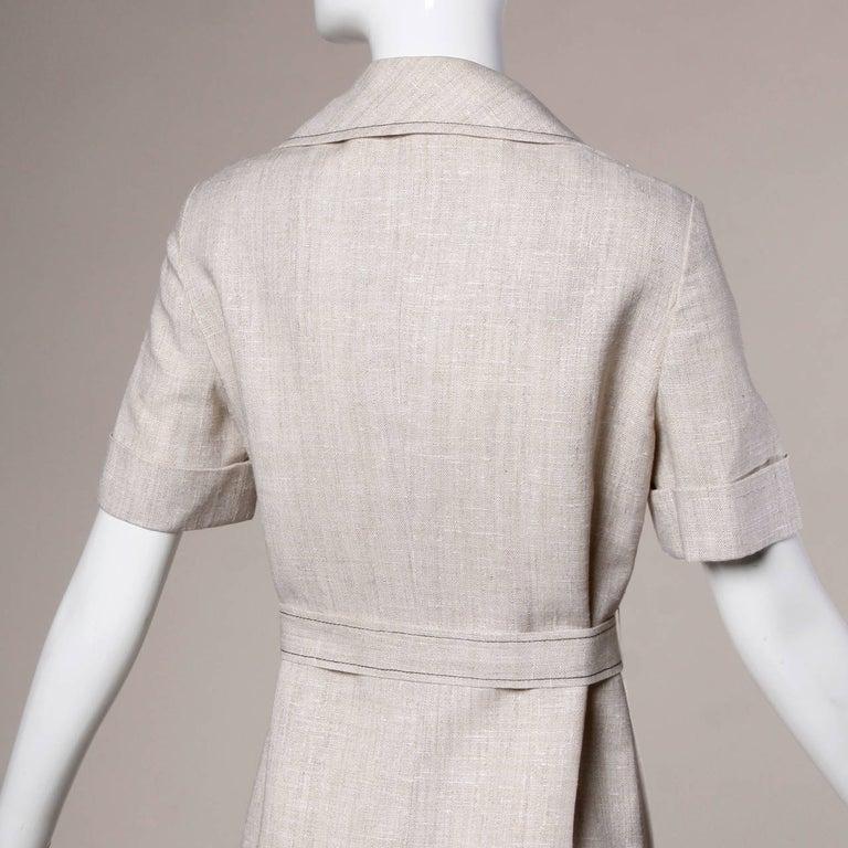 1960s Pierre Cardin Vintage Mod Linen Dress and Sash Belt For Sale 2