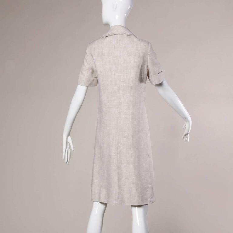 1960s Pierre Cardin Vintage Mod Linen Dress and Sash Belt For Sale 3