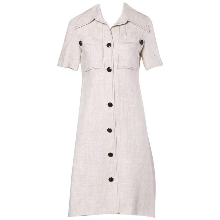 1960s Pierre Cardin Vintage Mod Linen Dress and Sash Belt For Sale