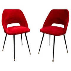 1960s Pierre Guariche Style Red Furry Fabric French Chairs