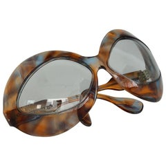 1960s Pierre Marly Cocktail Sunglasses Oversized Avant-Garde Tortoise Frame