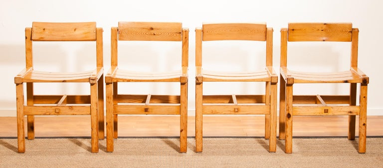 1960s, Pine Set Of Four Chairs By Edvin Helseth Norway For