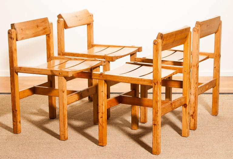 Mid-20th Century 1960s, Set of Four Pine Dining Chairs by Edvin Helseth, Norway For Sale