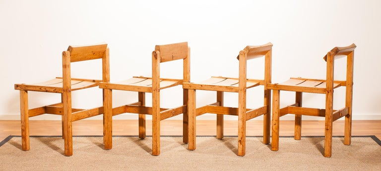 1960s, Set of Four Pine Dining Chairs by Edvin Helseth, Norway For Sale 3