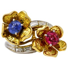 1960s Pink and Blue Sapphire Bypass Ring