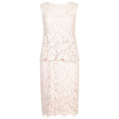 1960s Pink and White Lace Occasion Dress