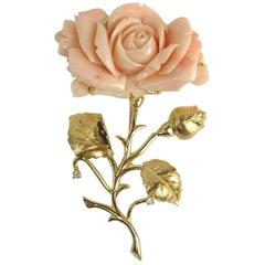 1960s Pink Coral 14 Karat Gold Diamond Rose Brooch Pin