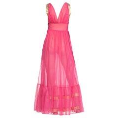 1960S Pink Dress With Gold Lurex Jacquard Trim