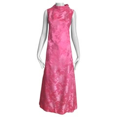 1960s Pink Jacquard Sleeveless Dress