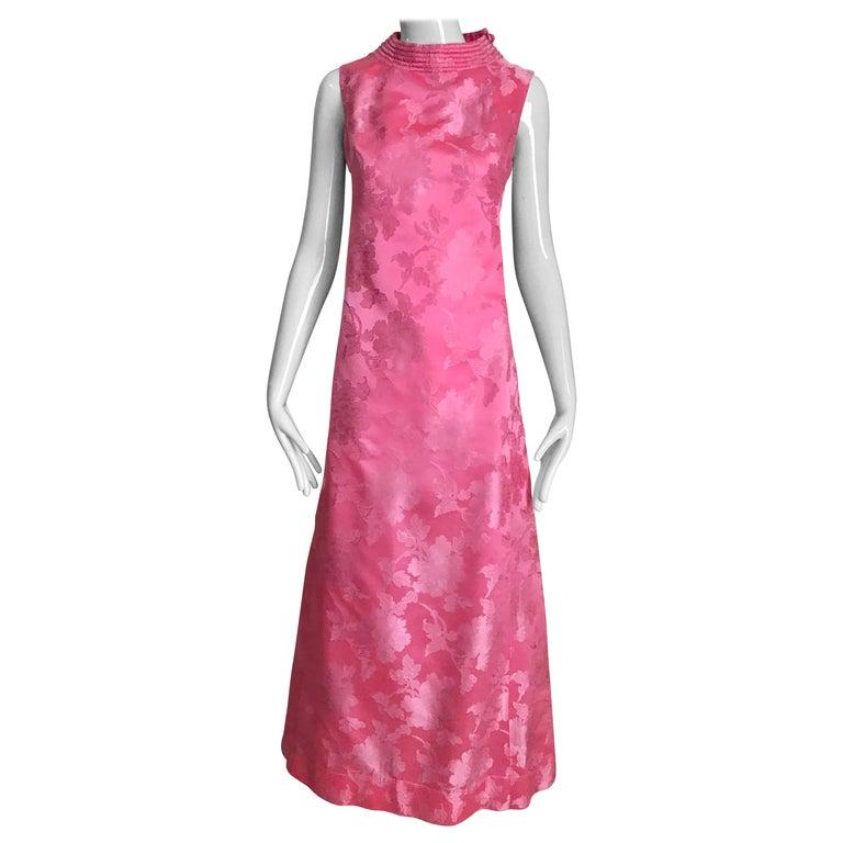 1960s Pink Jacquard Sleeveless Dress For Sale