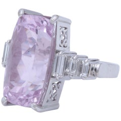 1960s Pink Kunzite with Step Down Baguette Diamonds White Gold Cocktail Ring