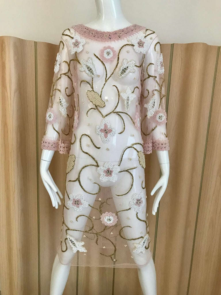 Beige 1960s Pink Mesh Beaded Tunic Cocktail Dress For Sale