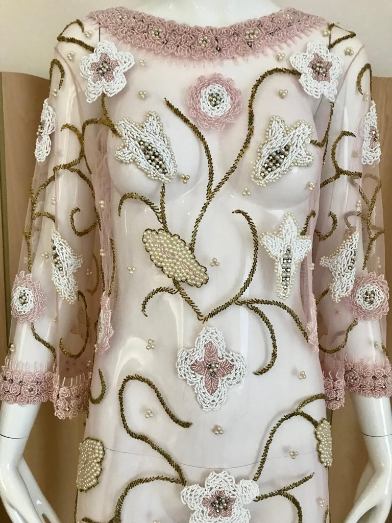 1960s Pink Mesh Beaded Tunic Cocktail Dress In Excellent Condition For Sale In Beverly Hills, CA