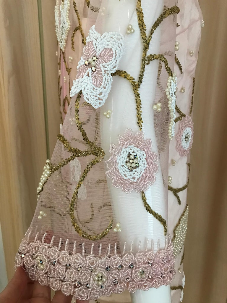 1960s Pink Mesh Beaded Tunic Cocktail Dress For Sale 1