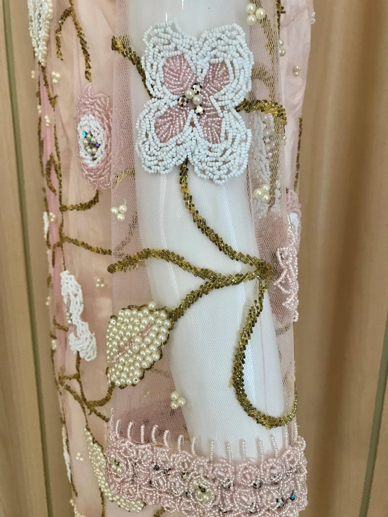 1960s Pink Mesh Beaded Tunic Cocktail Dress For Sale 2