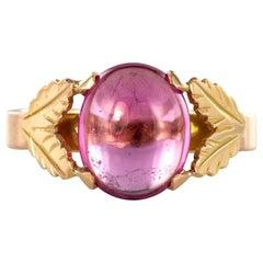 1960s Pink Tourmaline 18 Carat Gold Leaves Ring