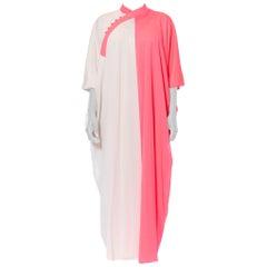 1960S Pink & White Nylon Jersey Mod Kaftan