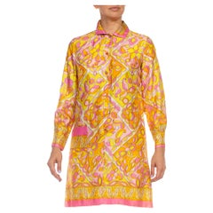 1960S Pink & Yellow Polyester Psychedelic Geometric Floral Dress