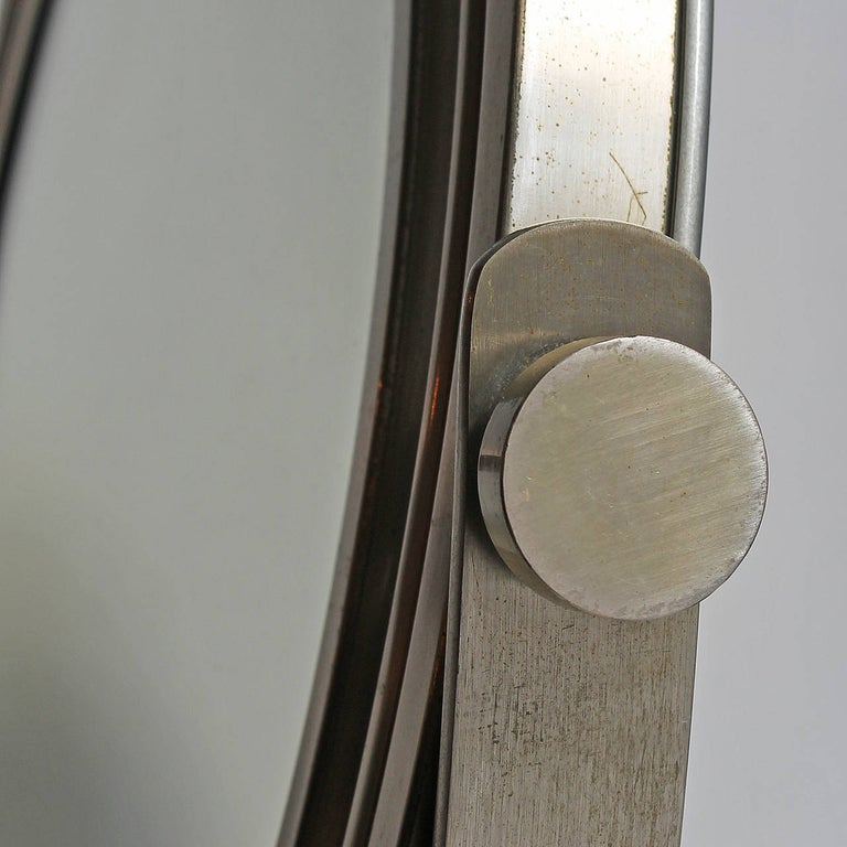1960s Pivoting Vanity-Table Mirror by Sergio Mazza, Nickel-Plated Frame, Italy For Sale 3