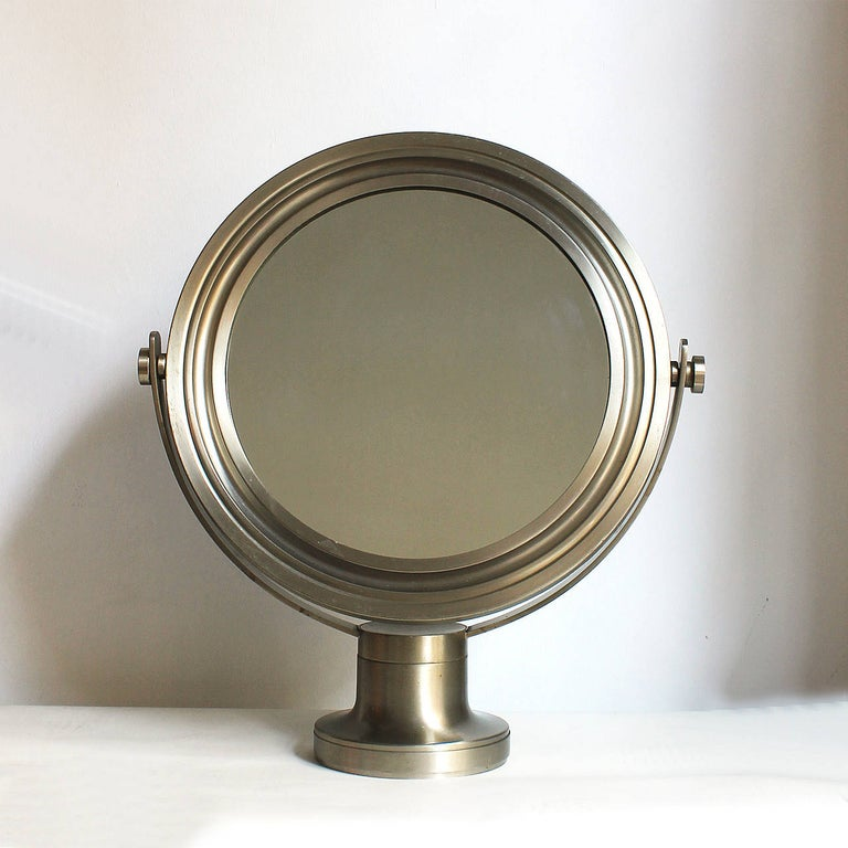 Pivoting vanity-table mirror, brushed nickel-plated frame and base. Original patina. Design: Sergio Mazza Italy, late 1960s.