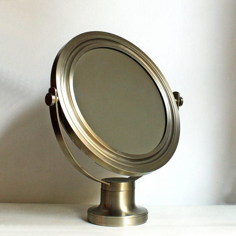 Mid-Century Modern 1960s Pivoting Vanity-Table Mirror by Sergio Mazza, Nickel-Plated Frame, Italy For Sale