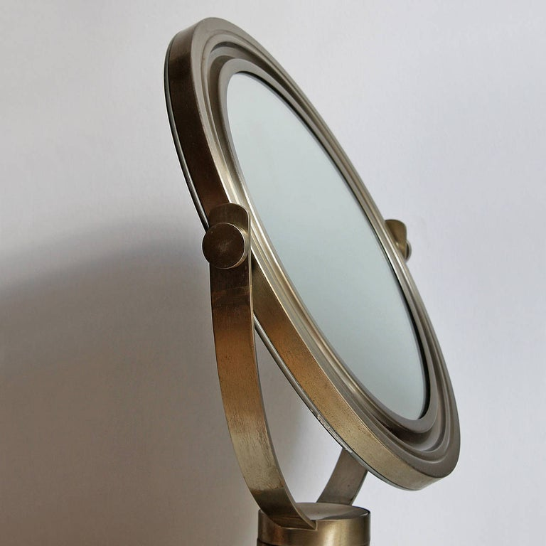 Mid-20th Century 1960s Pivoting Vanity-Table Mirror by Sergio Mazza, Nickel-Plated Frame, Italy For Sale