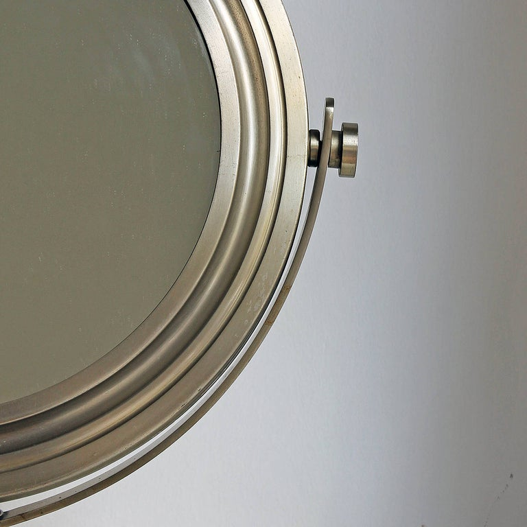 Metal 1960s Pivoting Vanity-Table Mirror by Sergio Mazza, Nickel-Plated Frame, Italy For Sale